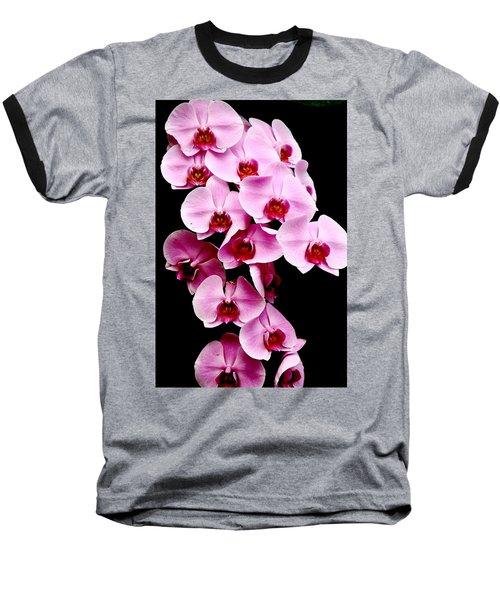 Pink Orchid Baseball T-Shirt by Menachem Ganon
