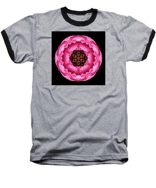 Pink Peony Flower Mandala Baseball T-Shirt