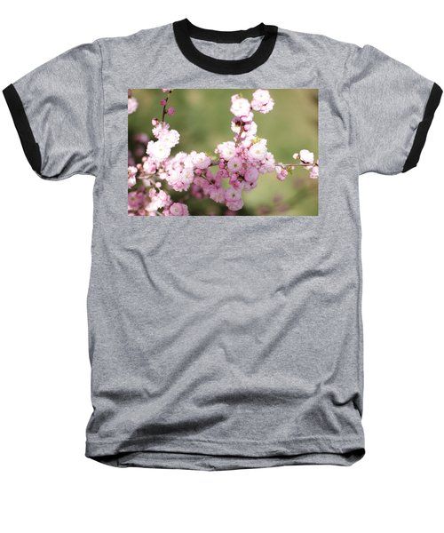 Pink Plum Branch On Green 2 Baseball T-Shirt