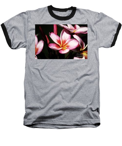 Pink Plumeria Baseball T-Shirt by Angela DeFrias