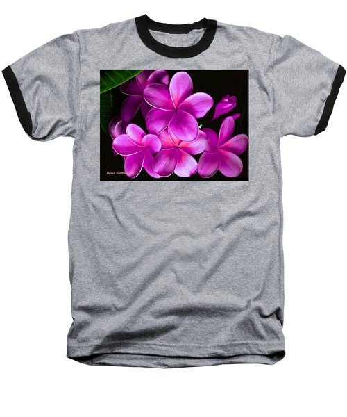 Pink Plumeria Baseball T-Shirt by Bruce Nutting