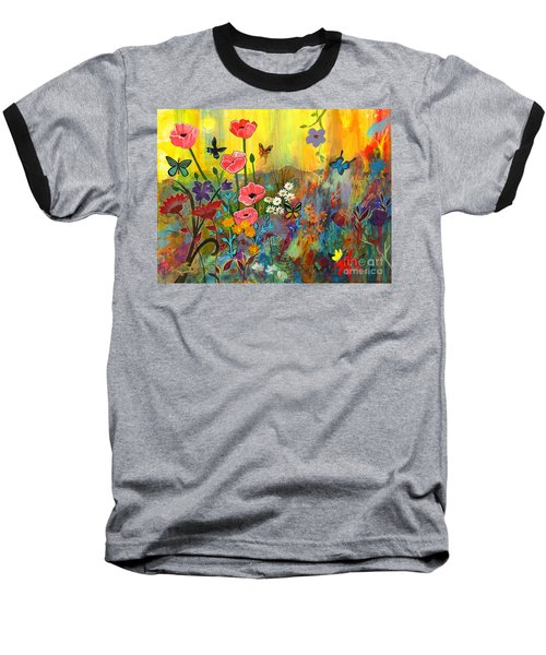 Baseball T-Shirt featuring the painting Pink Poppies In Paradise by Robin Maria Pedrero