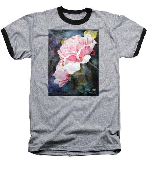 Pink Rose Caroline Baseball T-Shirt by Greta Corens