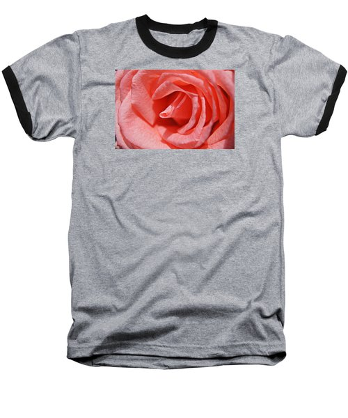 Pink Rose Baseball T-Shirt by Kathy Churchman