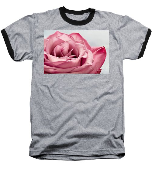 Pink Rose Macro Baseball T-Shirt