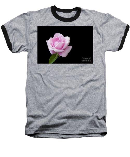 Pink Rose On Black Baseball T-Shirt by Victoria Harrington