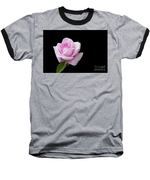 Pink Rose On Black Baseball T-Shirt