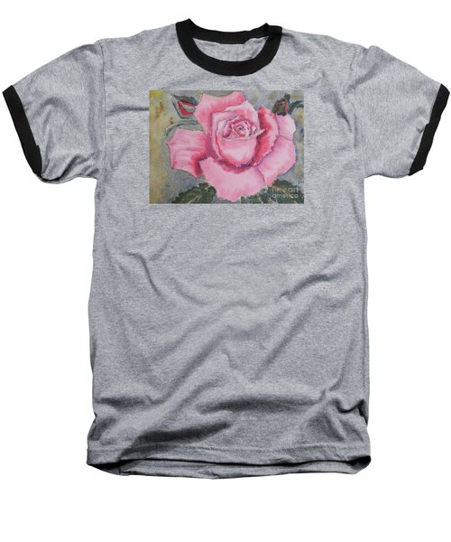 Pink Rose Baseball T-Shirt by Pamela  Meredith