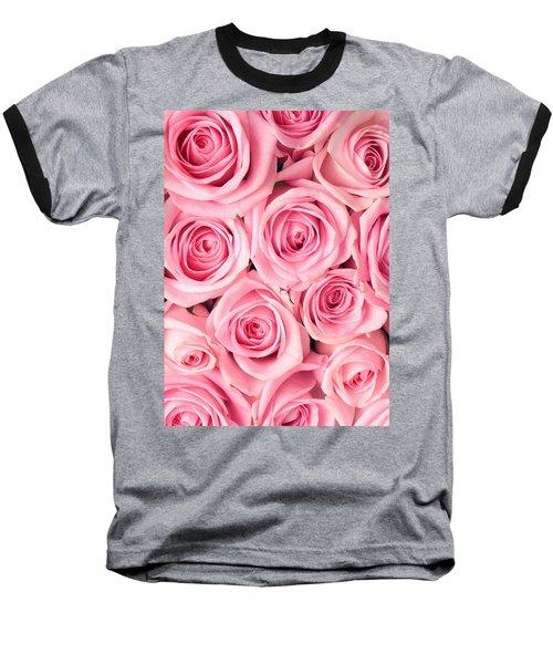 Pink Roses Baseball T-Shirt by Munir Alawi