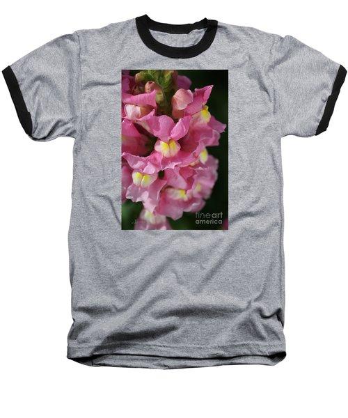 Pink Snapdragon Flowers Baseball T-Shirt by Joy Watson