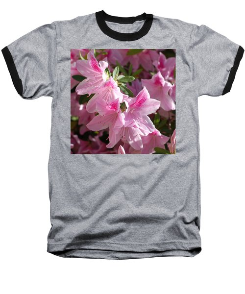Pink Star Azaleas In Full Bloom Baseball T-Shirt by Connie Fox