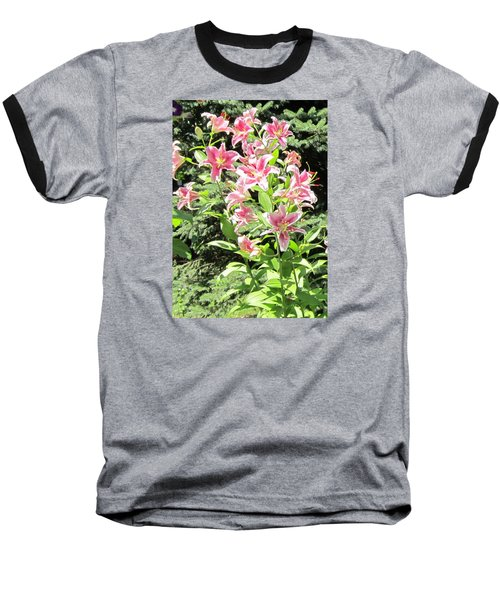 Pink Stargazer Lilies-greeting Card Baseball T-Shirt