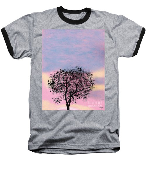 Baseball T-Shirt featuring the drawing Pink Sunset by D Hackett