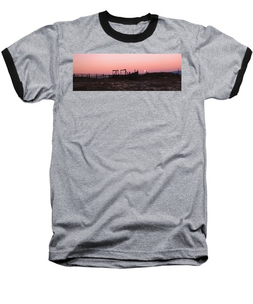 Pink Sunset Over Corral Baseball T-Shirt by Cathy Anderson