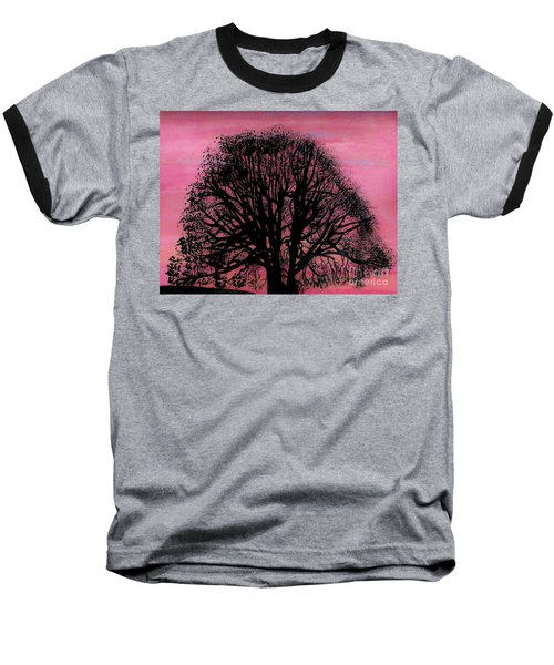 Baseball T-Shirt featuring the drawing Pink Sunset Tree by D Hackett