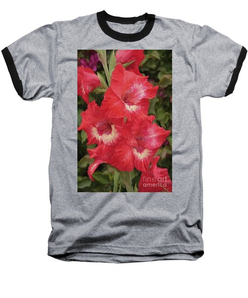 Pink Trumpet Painting In Digital Oil Baseball T-Shirt