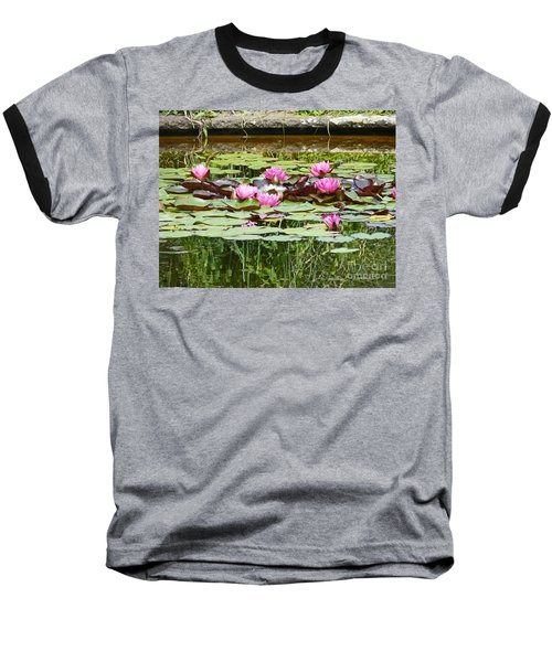 Pink Water Lilies Baseball T-Shirt