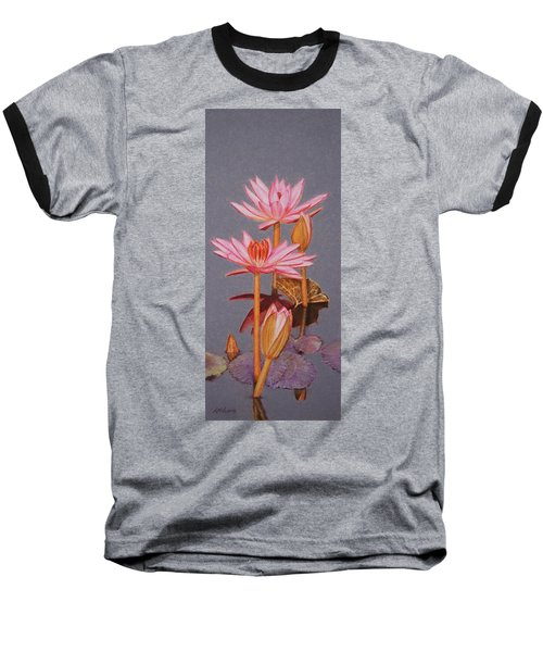 Pink Water Lilies Baseball T-Shirt