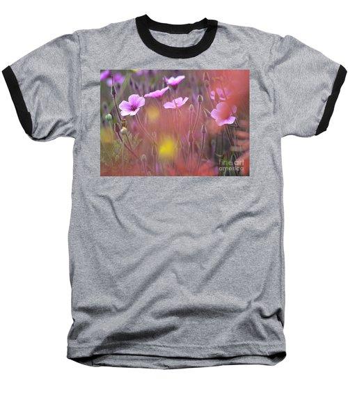 Pink Wild Geranium Baseball T-Shirt