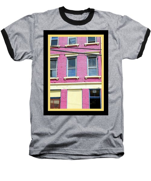 Baseball T-Shirt featuring the photograph Pink Yellow Blue Building by Kathy Barney