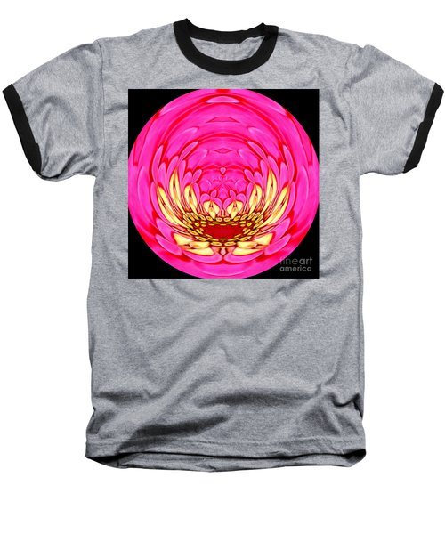 Baseball T-Shirt featuring the photograph Pink Zinnia Polar Coordinate 2 by Rose Santuci-Sofranko