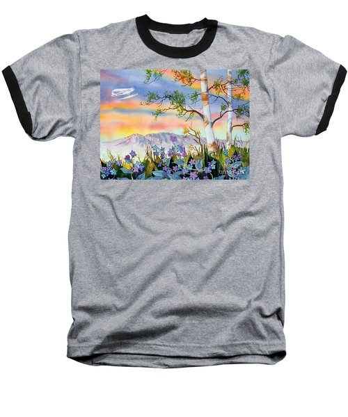 Baseball T-Shirt featuring the painting Piper Cub Over Sleeping Lady by Teresa Ascone
