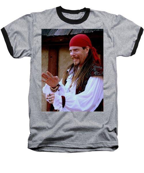 Pirate Shantyman Baseball T-Shirt by Rodney Lee Williams