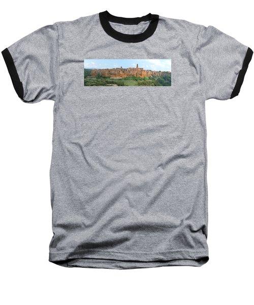 Pitigliano Panorama Baseball T-Shirt by Alan Socolik