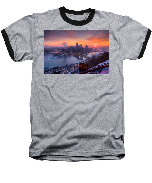 Pittsburgh Skyline Winter 2 Baseball T-Shirt by Emmanuel Panagiotakis