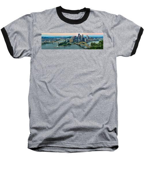 Pittsburgh Panorama At Dusk Baseball T-Shirt