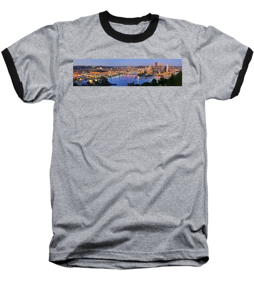 Pittsburgh Pennsylvania Skyline At Dusk Sunset Extra Wide Panorama Baseball T-Shirt by Jon Holiday