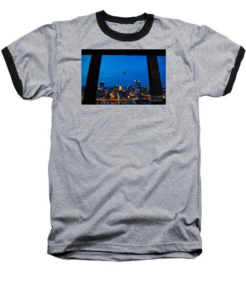 Pittsburgh Skyline At Night Baseball T-Shirt