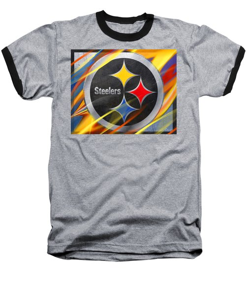Pittsburgh Steelers Football Baseball T-Shirt by Tony Rubino