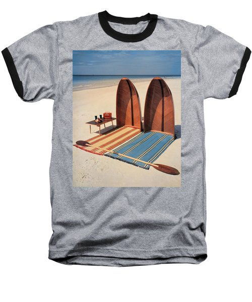 Pixie Collapsible Boat On The Beach Baseball T-Shirt