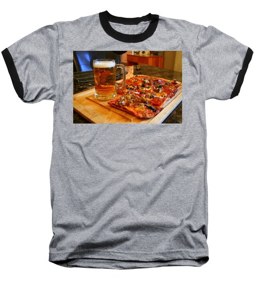 Pizza And Beer Baseball T-Shirt by Kay Novy