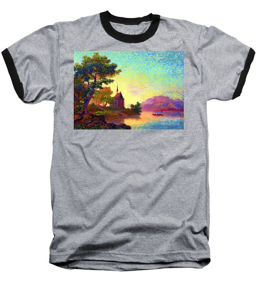 Baseball T-Shirt featuring the painting Beautiful Church, Place Of Welcome by Jane Small