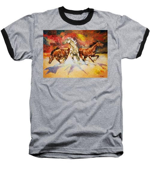 Baseball T-Shirt featuring the painting Plains Thunder by Al Brown