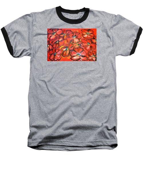 Plaisir Rouge Baseball T-Shirt by Ramona Matei