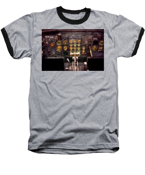 Plane - Cockpit - Boeing 727 - The Controls Are Set Baseball T-Shirt by Mike Savad