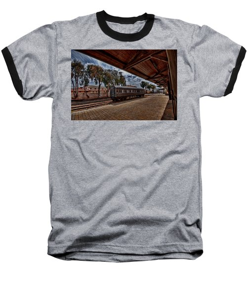 Baseball T-Shirt featuring the photograph platform view of the first railway station of Tel Aviv by Ron Shoshani