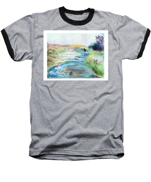 Baseball T-Shirt featuring the painting Playin' Hooky by C Sitton