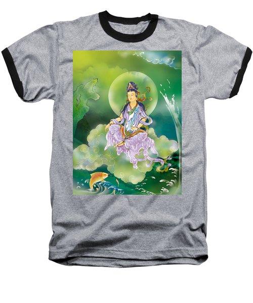 Playing Avalokitesvara   Baseball T-Shirt by Lanjee Chee