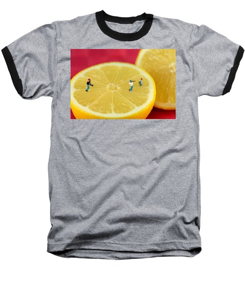 Playing Baseball On Lemon Baseball T-Shirt by Paul Ge