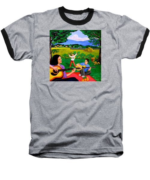 Baseball T-Shirt featuring the painting Playing Melodies Under The Shade Of Trees by Cyril Maza