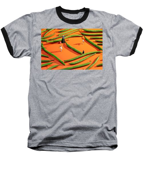 Playing Tennis Among French Beans Little People On Food Baseball T-Shirt by Paul Ge