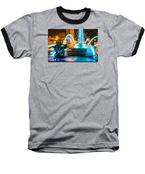 Plaza Blue Fountain Baseball T-Shirt by Steven Bateson
