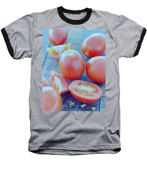 Plum Tomatoes On A Wooden Board Baseball T-Shirt