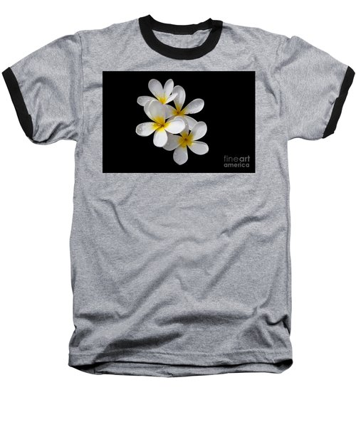 Baseball T-Shirt featuring the photograph Plumerias Isolated On Black Background by David Millenheft