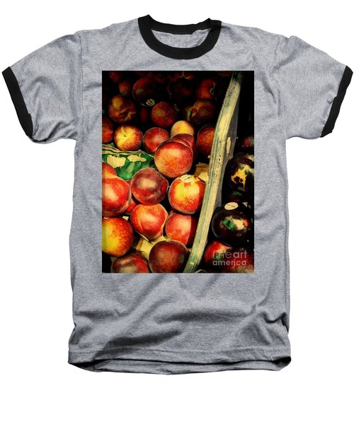 Plums And Nectarines Baseball T-Shirt by Miriam Danar