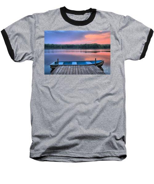 Poconos Lake Whitney Sunset Rowboat Baseball T-Shirt